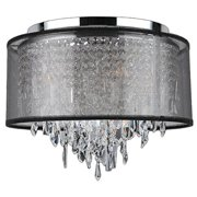 "Tempest Collection 5 Light Chrome Finish Crystal Flush Mount Ceiling Light with Black Organza Shade 16"" D x 15"" H Medium"