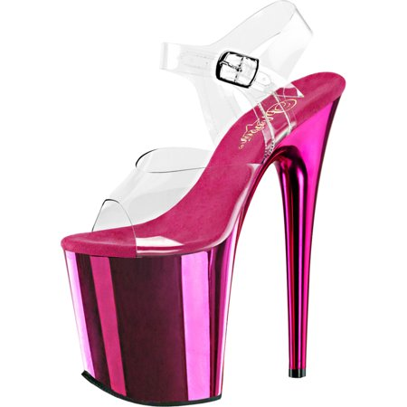 b15f37dd90e Womens 8 Inch Heels Sexy Hot Pink Platform Sandals Clear Ankle Strap Shoes