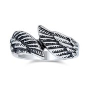 Religious Spiritual Angel Wing Feather Bypass Band Ring for Men for Women Oxidized Silver Tone Stainless Steel