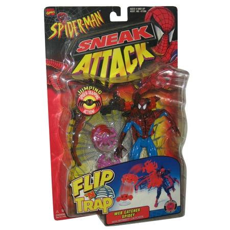 - Marvel Spider-Man Sneak Attack Flip N Trap Web Catcher Spidey Toy Biz Figure - (Red / Blue)