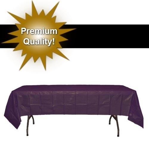 Exquisite 12 Pack Plum Plastic Tablecloth, 108 x 54 Inch