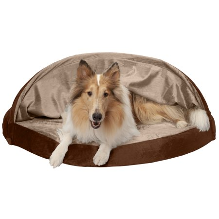 FurHaven Pet Dog Bed | Orthopedic Round Microvelvet Snuggery Burrow Pet Bed for Dogs & Cats, Espresso, 44-inch