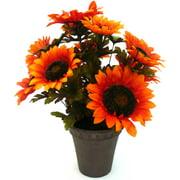 Orange Sunflower Harvest Pot Fall Harvest Halloween Decoration