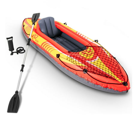 Goplus 1-Person Inflatable Canoe Boat Kayak Set W/ Aluminum Alloy Oar Hand
