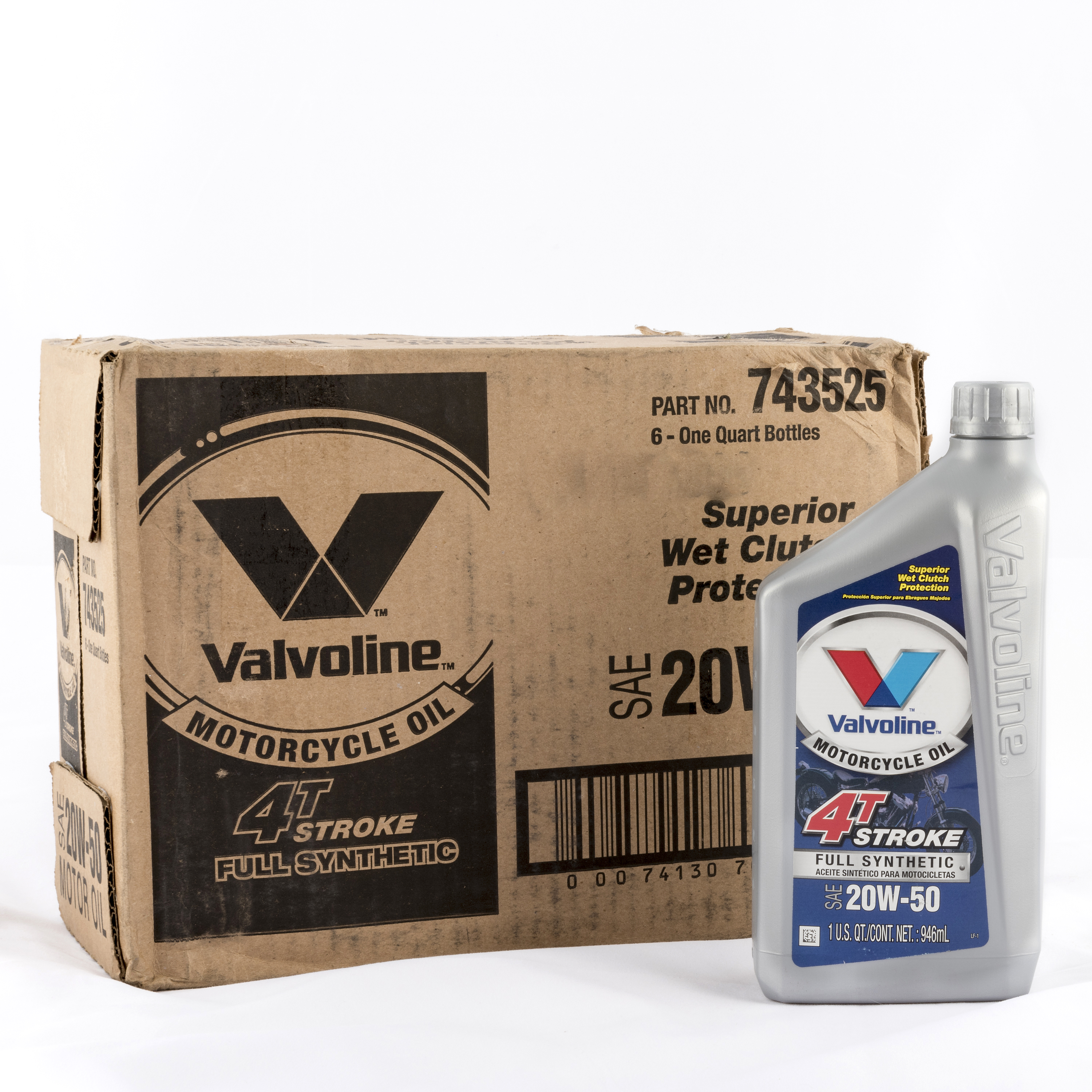 Valvoline Motorcycle Full Synthetic 20W-50 Motor Oil, 1 Quart, (6-pack)