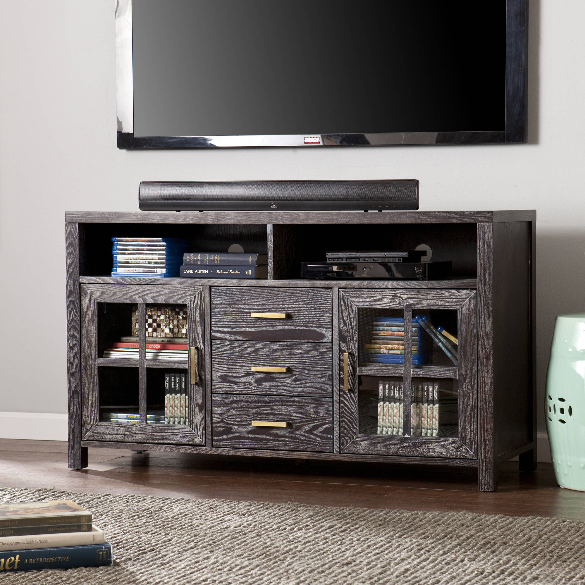 Southern Enterprises Konwick Weathered Dark Gray Tv Stand For Tvs Up To 46 Quot Walmart Com