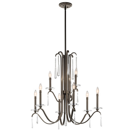 Kichler 43289 Tara 2-Tier Candle-Style Chandelier with 3 Lights - Stem Included