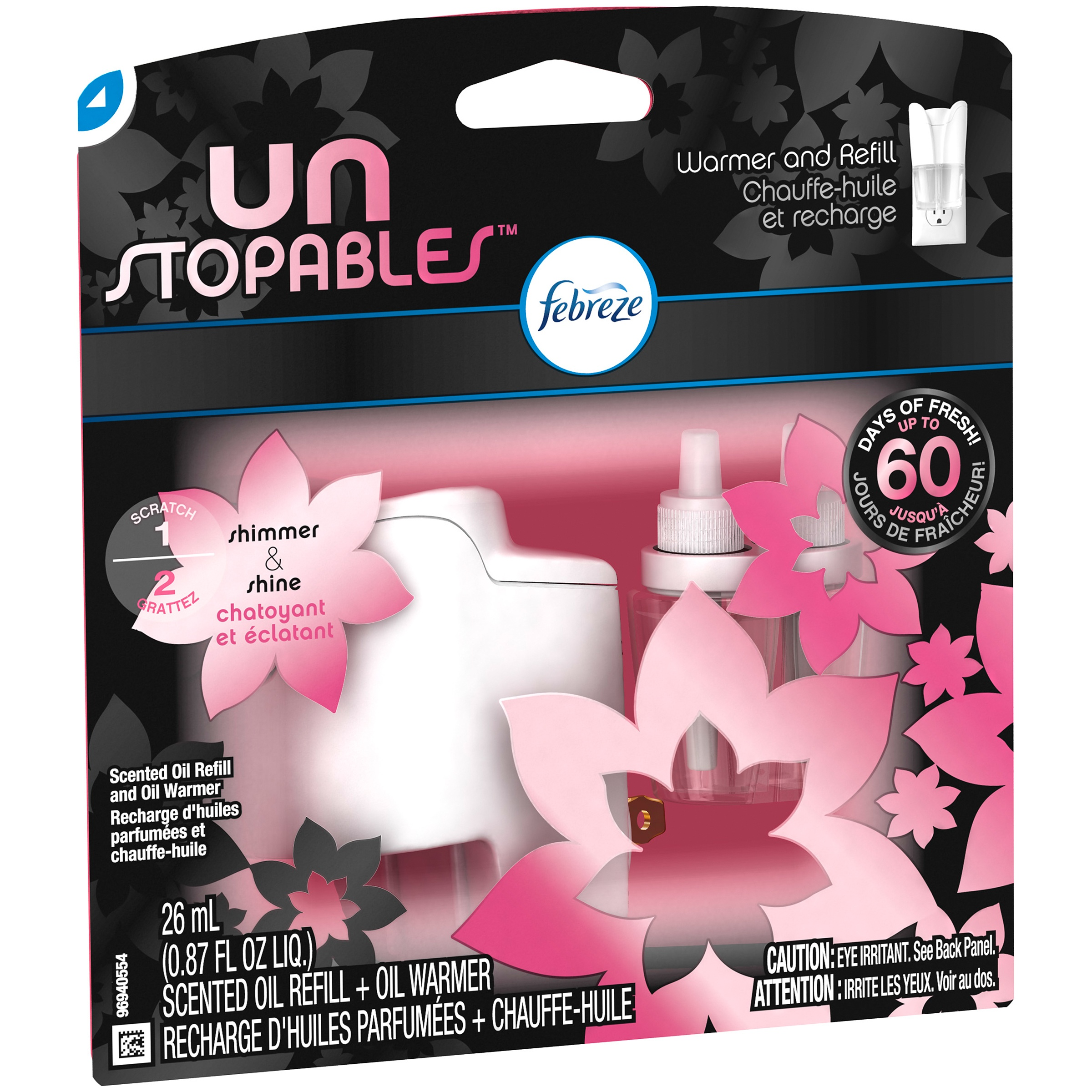 Unstopables Shimmer Pluggable Scented Oil Refill with Warmer Air Freshener (1 Count, 0.87 Oz)