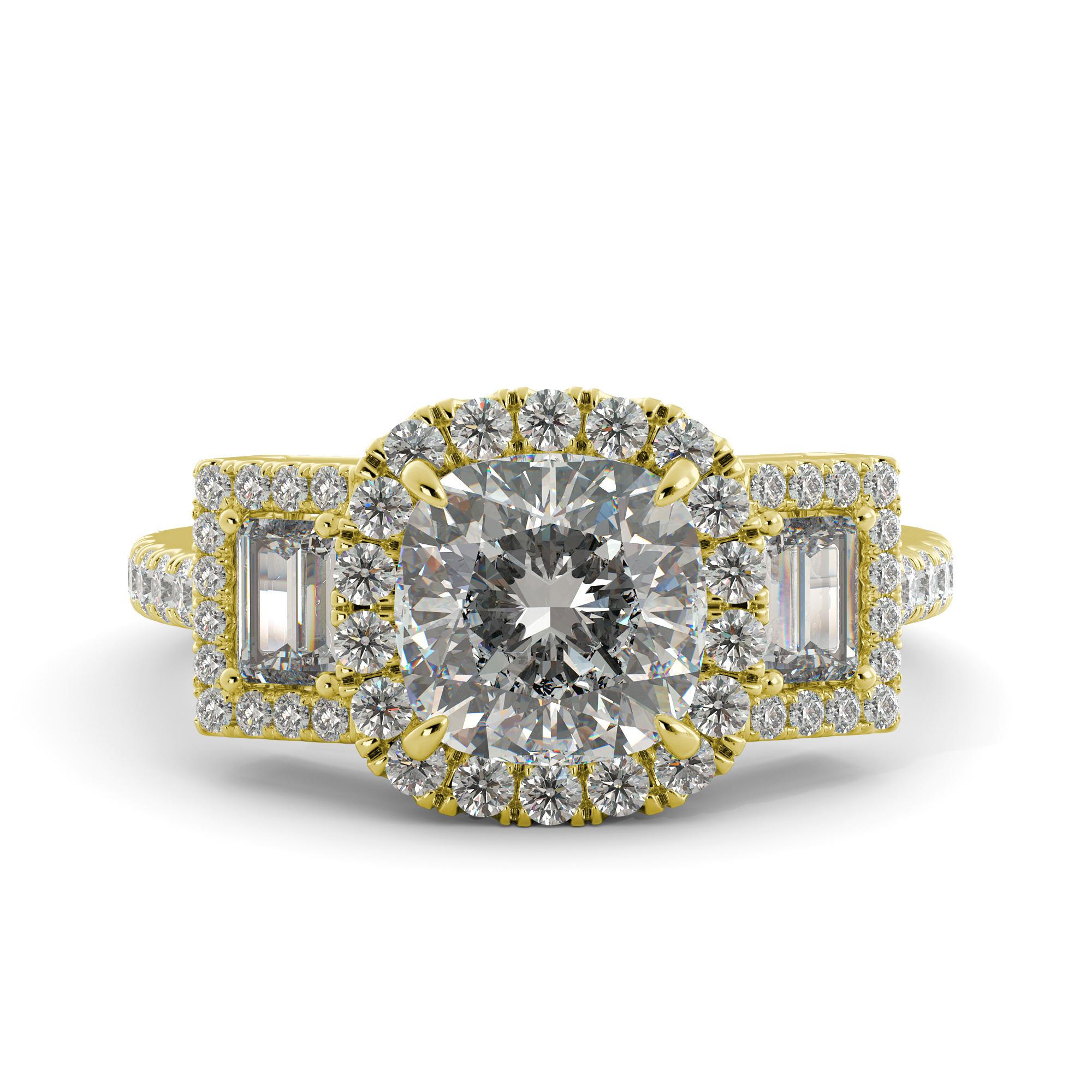 3.10 ct Cushion C&C Brilliant Moissanite & Round Diamond Engagement Ring 14k Rose Gold