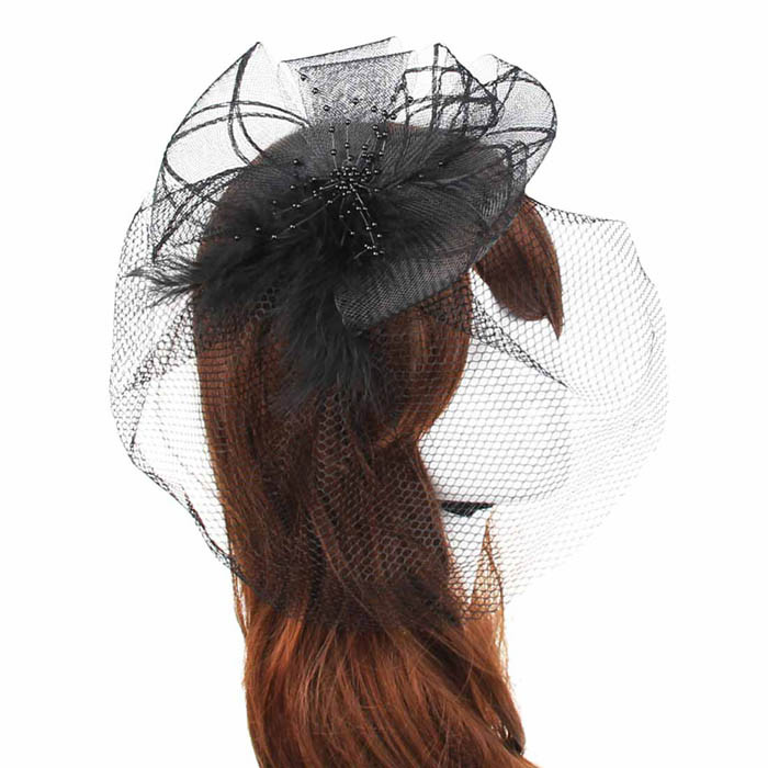 Outtop Wedding Fascinator Veil Feather Hard Yarn Headband Hats Women Brides Hair Access