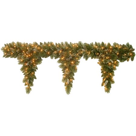 National Tree 6 Glittery Bristle Pine Teardrop Garland with 3 Drops with Pine Cones and 100 Clear Lights