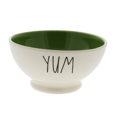 Rae Dunn by Magenta YUM Ice Cream / Cereal Bowl Green Interior - Ice Cream Sundae Bowls