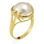 Kabella 14k Yellow Gold Mabe Pearl and Diamond Accent Ring (I, I3) (13mm) Size 8