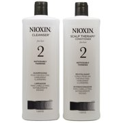 Nioxin System 2 Cleanser & Scalp Therapy Shampoo and Conditioner Liter Duo, 33.8oz