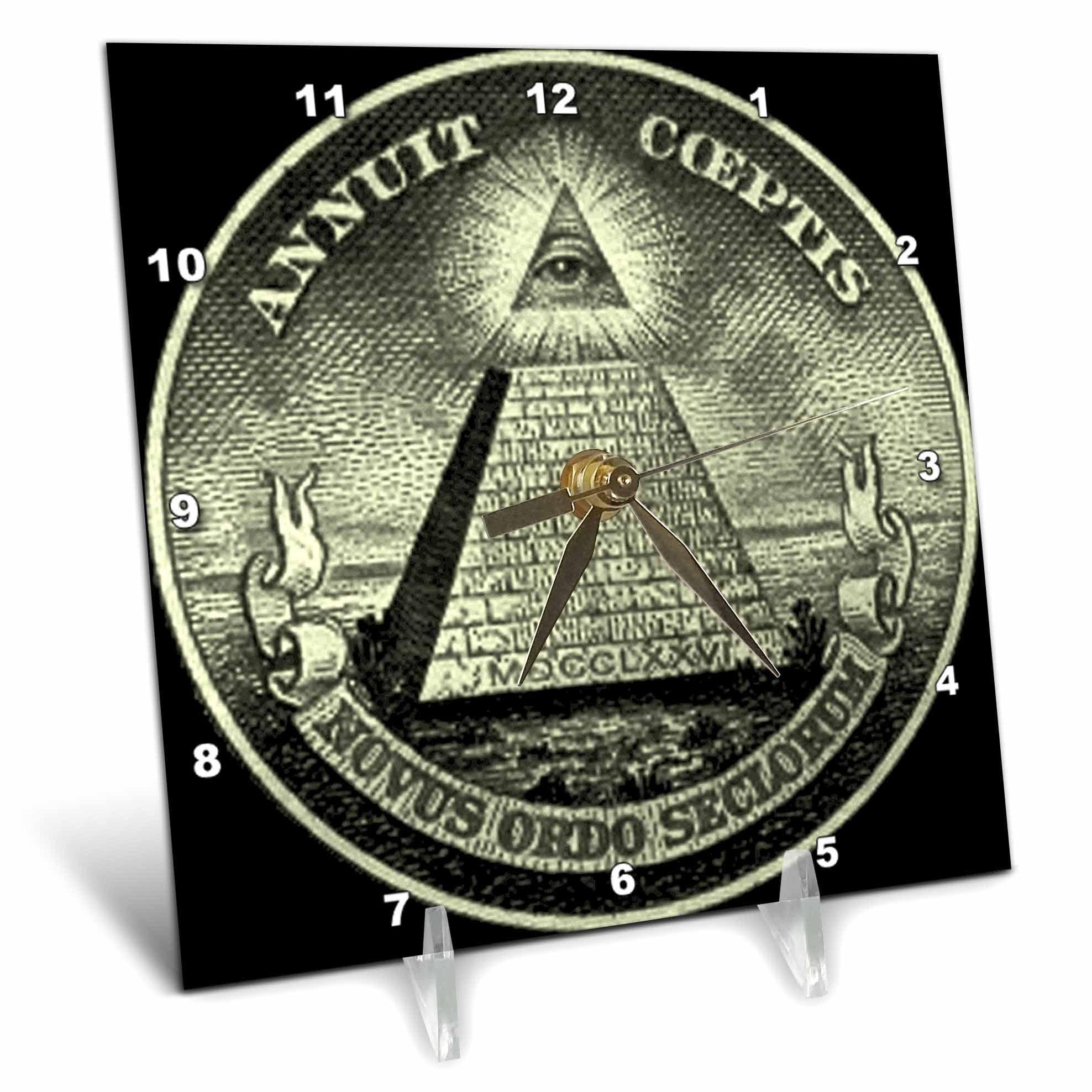3dRose Illuminati, Desk Clock, 6 by 6-inch by 3dRose