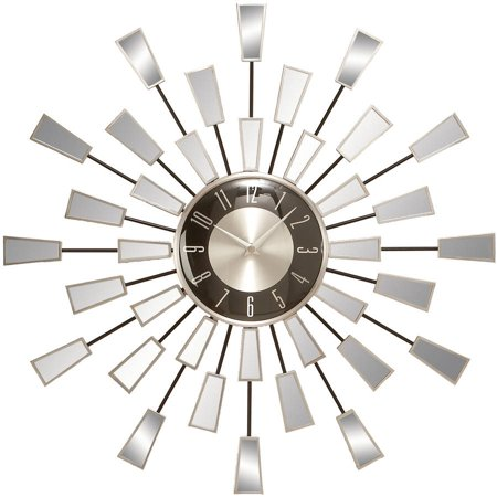 Decmode Metal And Mirror Wall Clock Multi Color Walmart Com