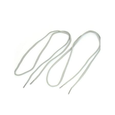 Unique Bargains 2pcs Gray nPlastic Tip Round Shoelaces Sneakers Boots Shoes Laces Cords (Grey Gym)