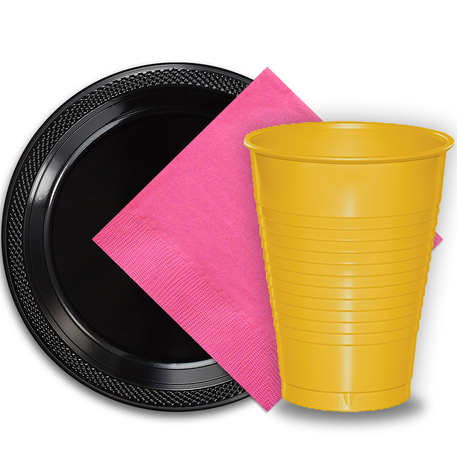 """50 Black Plastic Plates (9""""), 50 Yellow Plastic Cups (12 oz.), and 50 Hot Pink Paper Napkins, Dazzelling Colored Disposable Party Supplies Tableware Set for Fifty Guests."""