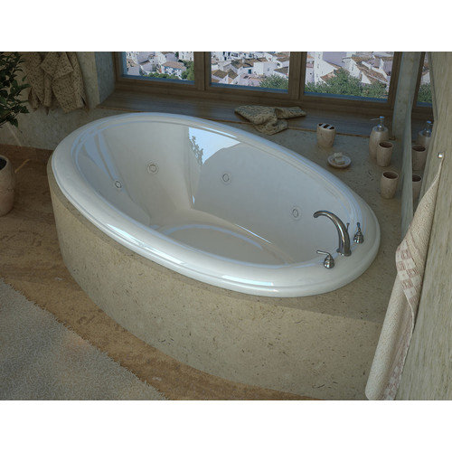 Spa Escapes Martinique 78'' x 44'' Oval Whirlpool Jetted Bathtub with Center Drain