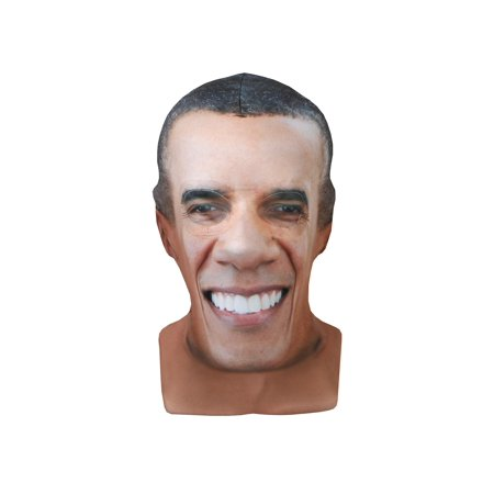 Faux Real Men's Barack Obama Printed Face Mask - President Halloween Costume