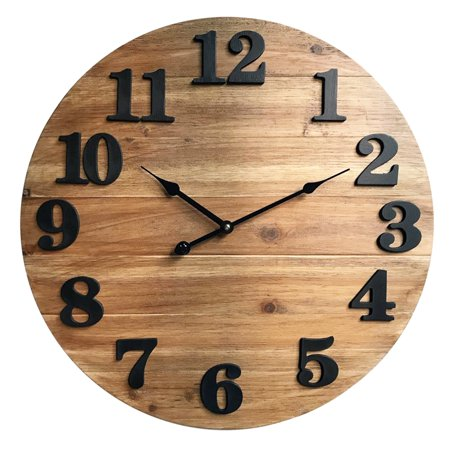 Better Homes & Gardens Wood Planks Clock, Natural Stain Finish