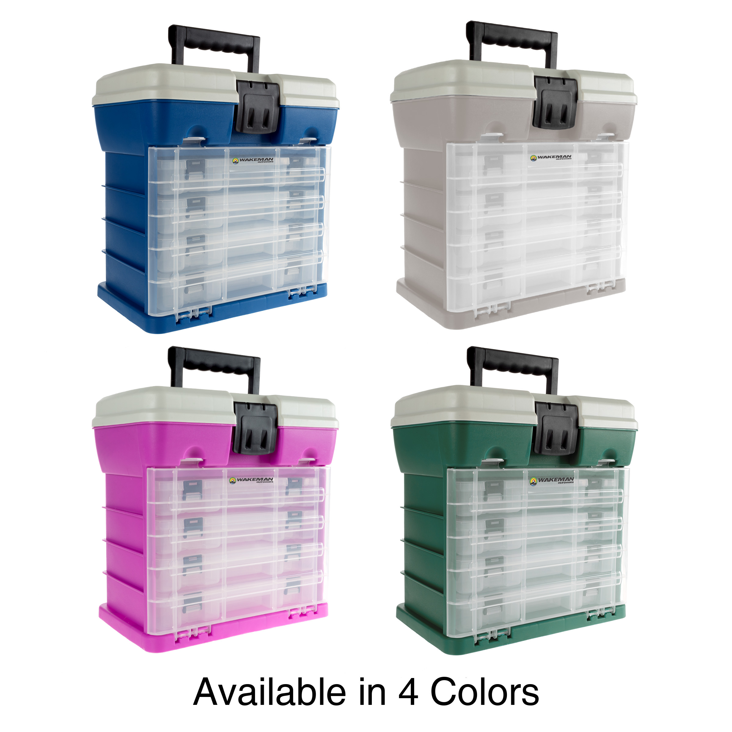 Green 19 Compartments Each for Camping Supplies and Fishing Tackle by Wakeman Outdoors Storage and Tool Box-Durable Organizer Utility Box-4 Drawers