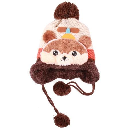 Enimay Kid's Panda Animal Pom Fur Lining Knit Beanie with Tassel Beige One Size - Panda Hat