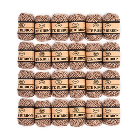 24Pcs Jute Twine String Natural Ball Burlap Hessian Roll Twine Roll Length 10m Packing String for Gifts Festive Gardening Wedding Decoration DIY Craft ()