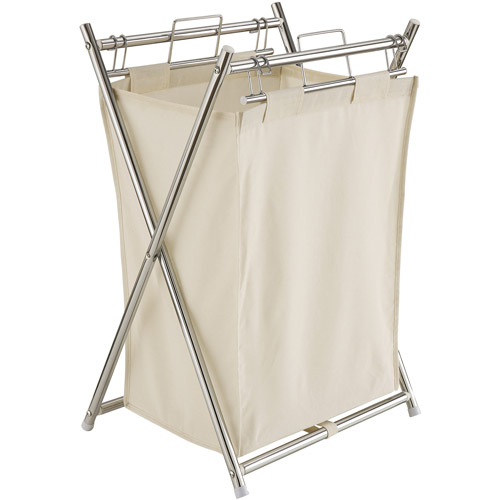 Neu Home Folding Hamper with Canvas Pull-out Bag, Off-White