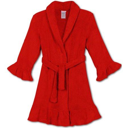 Komar Kids Girls' Heart Velvet Fleece Robe