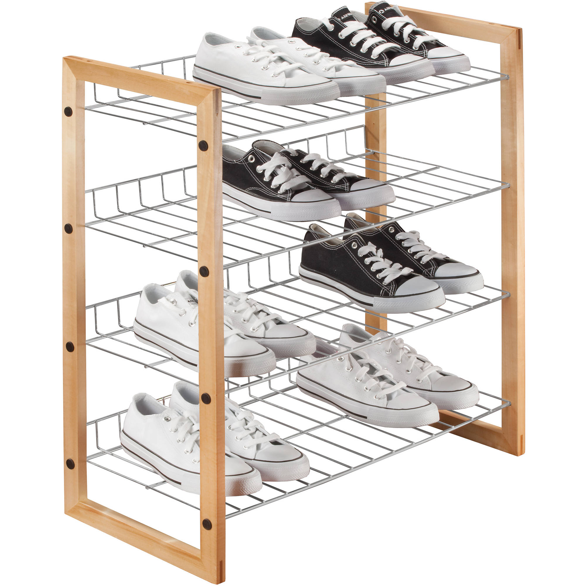 Simplify 4-Tier Wood Shoe Caddy, Multiple Colors