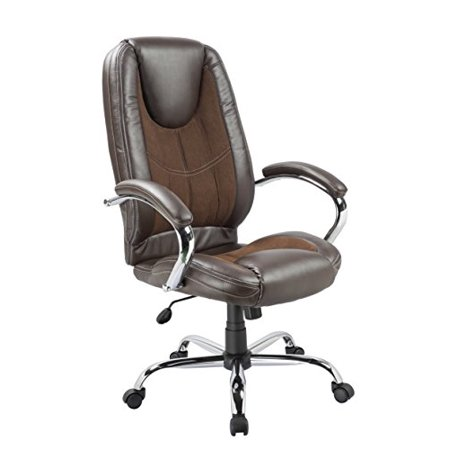 Office Factor Ergonomic High Back Executive Managerial Office Chair Padded Arms Swivel Brown Lumbar Support Head Rest Comfy Chair Contrast Stitching (OF-71BR)