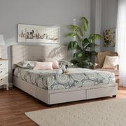 Baxton Studio Netti Beige Fabric Upholstered 2-Drawer Queen Size Platform Storage Bed