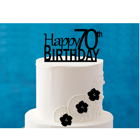 Happy 70th Birthday 5 X 4inch Number Elegant Cake Topper