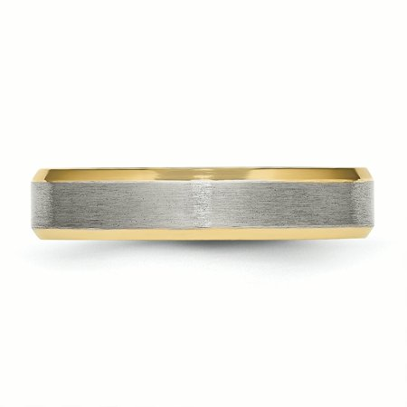 Titanium 5mm Yellow Plated Beveled Edge Brushed/ Wedding Ring Band Size 12.00 Classic Flat W/edge Fashion Jewelry For Women Gifts For Her - image 4 de 10