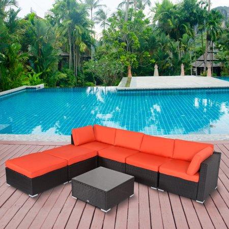 Kinbor 7pcs Outdoor Patio Furniture Sectional Pe Wicker ...