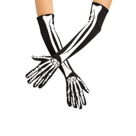 Skeleton Opera Gloves Adult Halloween Accessory](Halloween Skeleton Q Tips)