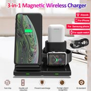 3 IN 1 Magnetic QI Wireless Charger, Qi Wireless Fast Charging Phone Stand for iPhone / for Samsung phones / Apple Watch / Airpods .