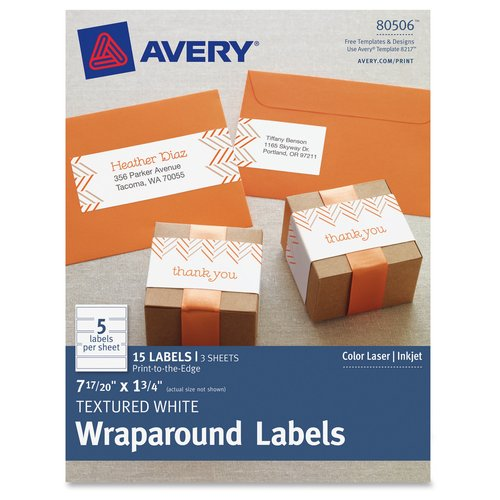 Avery Textured Wraparound Labels, 15pk