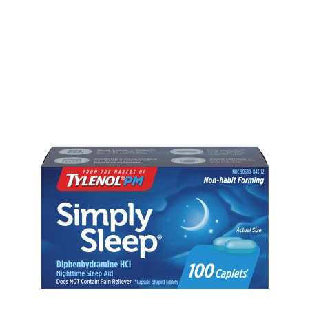 Simply Sleep Non-Habit Forming Nighttime Sleep Aid Caplets, 100 ct