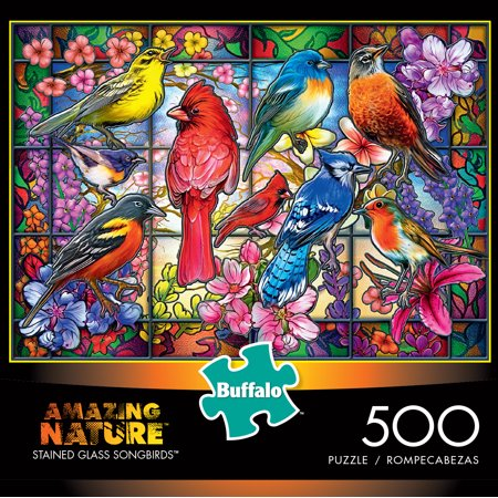 Buffalo Games - Amazing Nature - Stained Glass Songbirds - 500 Piece Jigsaw