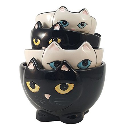 - Adorable Ceramic Black and White Cats Nesting Measuring Cup Set of 4 Creative Kitchen Decor