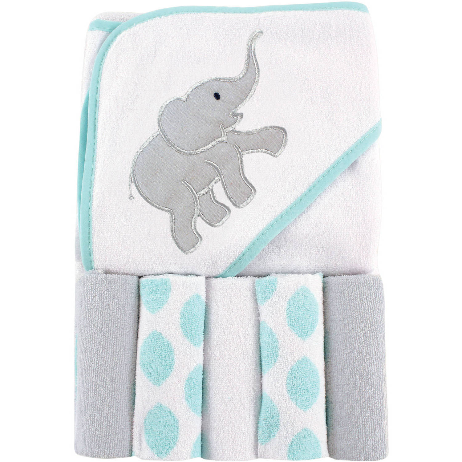 Luvable Friends Baby Hooded Towel with 5 Washcloths, Ikat Elephant