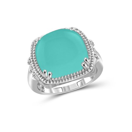 10-3/4 Carat T.G.W. Chalcedony and White Diamond Accent Sterling Silver Fashion Ring