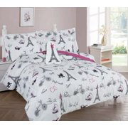8-PC FULL PARIS Complete Bed In A Bag Comforter Bedding Set With Furry Friend and Matching Sheet Set for Kids