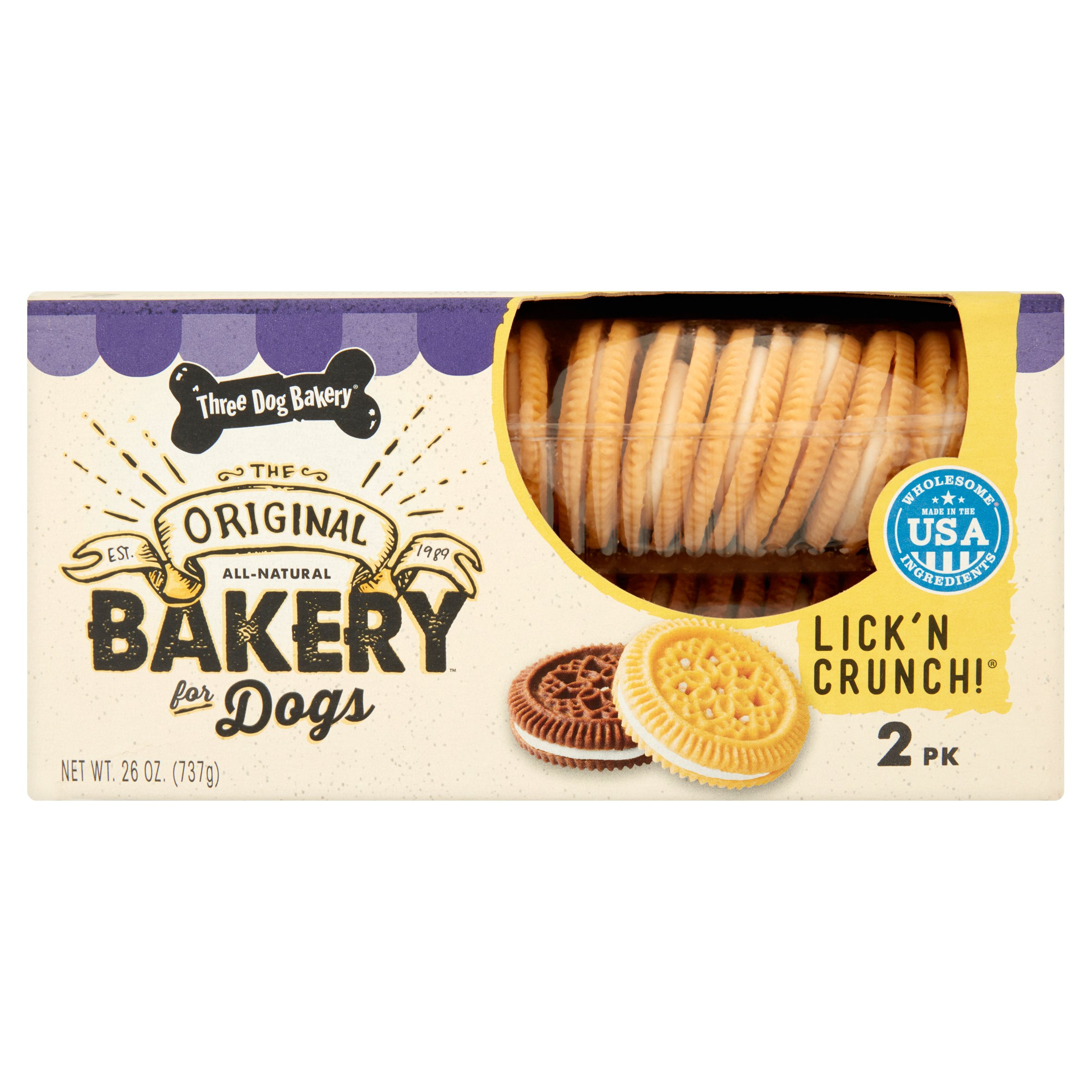 Three Dog Bakery The Original Lick'n Crunch! Bakery for Dogs, 2 pack, 26 oz