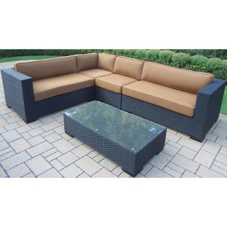 Image of Oakland Living Corporation Woven All-weather Resin Wicker 5-piece Sectional Set, with Aluminum Frames, and Mildew Resistant Sunbrella Cushions