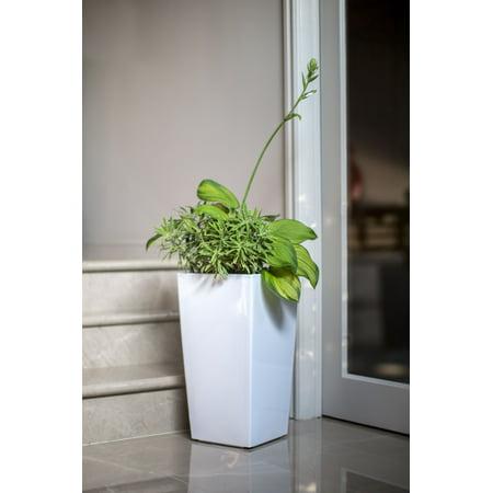 Algreen Modena Planter, 22-In. Round Taper Planter, Self-Watering, Glossy White