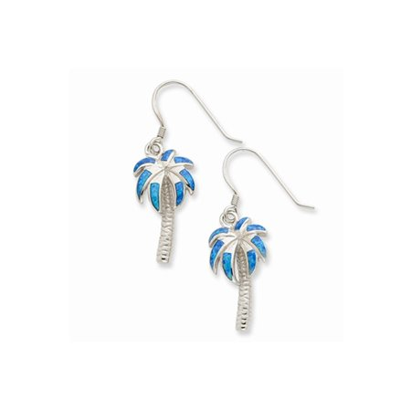 Created Blue Opal Inlay Palm Tree Dangle Earrings in Sterling Silver