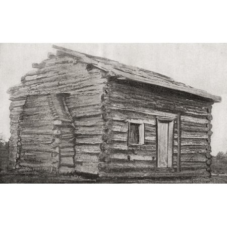 One room one window dirt floor log cabin at Sinking Spring Farm Hardin County Kentucky America where Abraham Lincoln was born Abraham Lincoln 1809 Stretched Canvas - Ken Welsh  Design Pics (17 x 11) (Abraham Lincoln Log Cabin Replica)